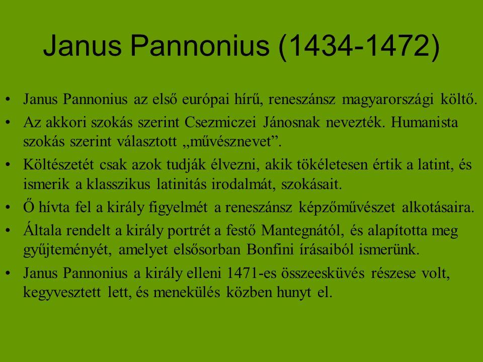 Janus Pannonius (1434-1472) Janus Pannonius az első európai hírű, reneszánsz magyarországi költő.