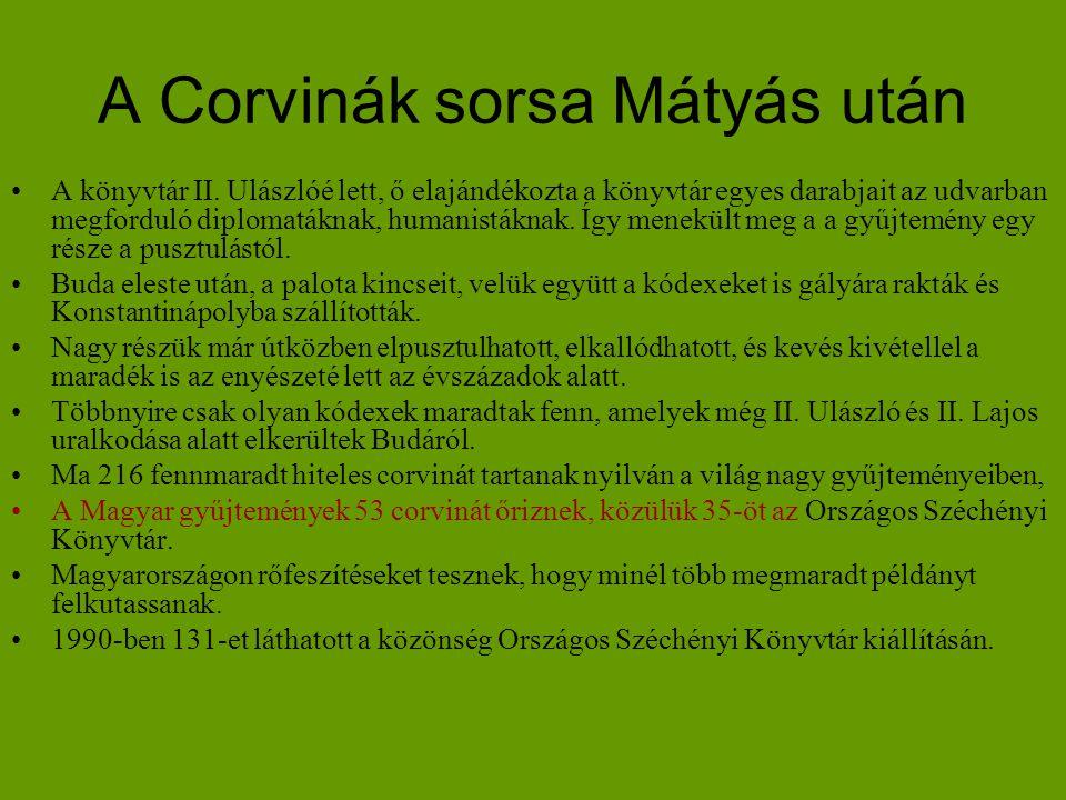 A Corvinák sorsa Mátyás után