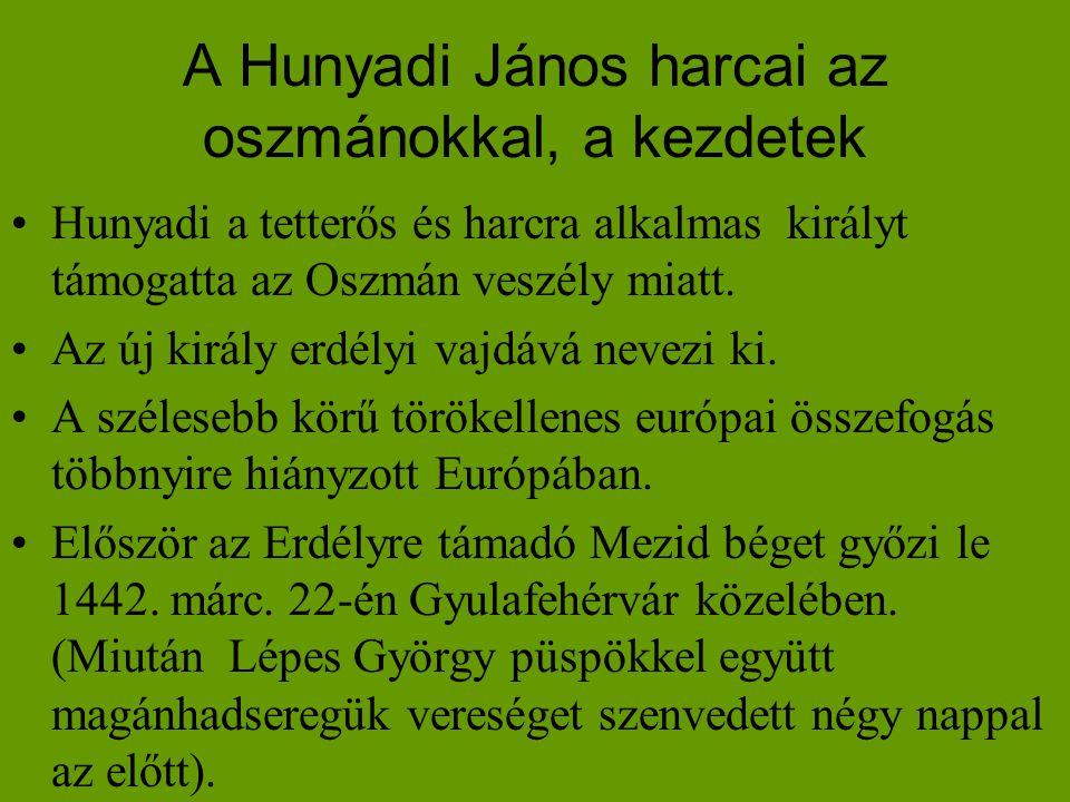 A Hunyadi János harcai az oszmánokkal, a kezdetek