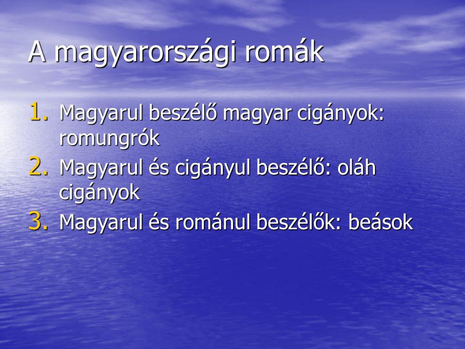 A magyarországi romák Magyarul beszélő magyar cigányok: romungrók