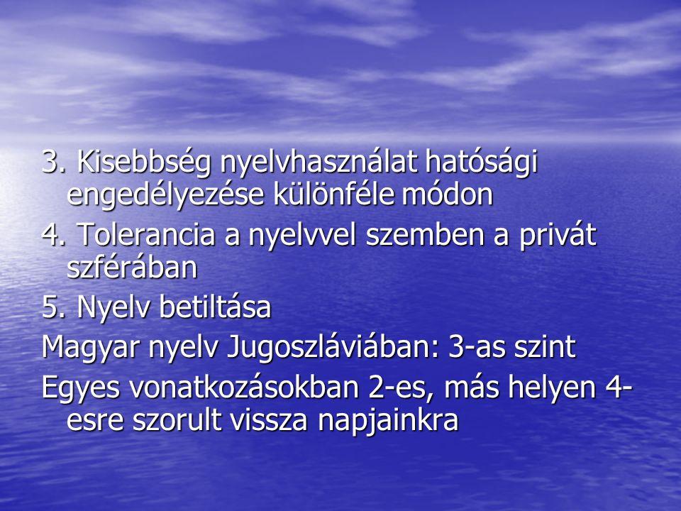 3. Kisebbség nyelvhasználat hatósági engedélyezése különféle módon