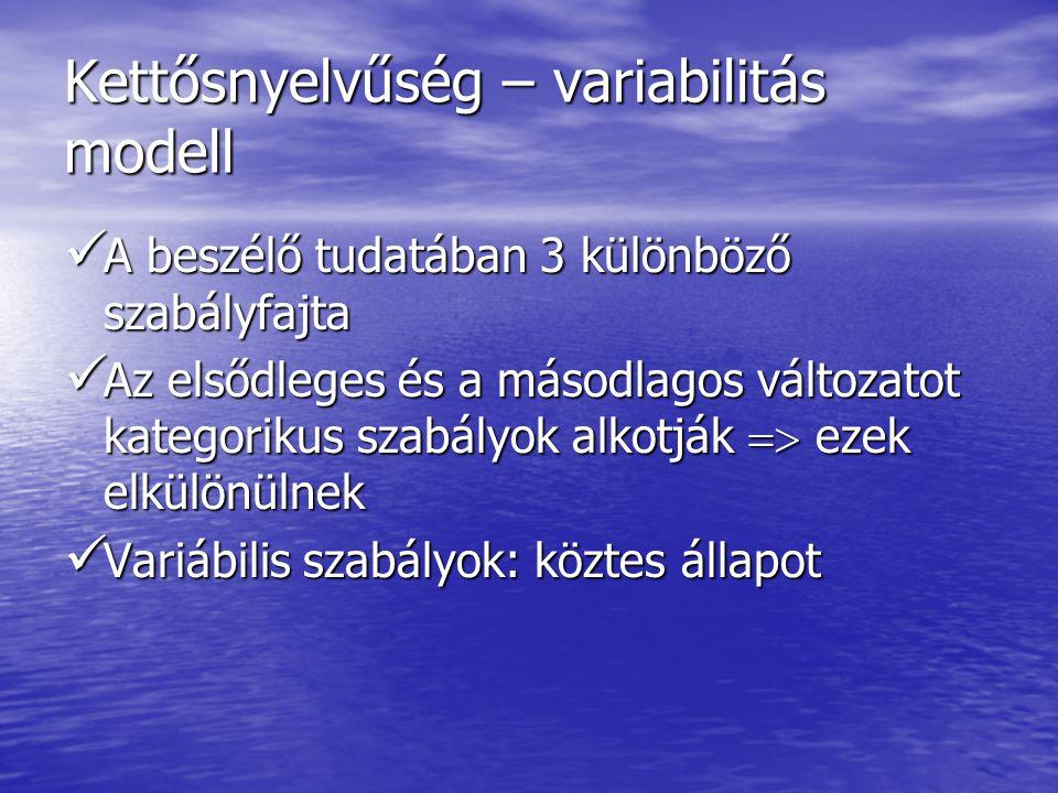 Kettősnyelvűség – variabilitás modell