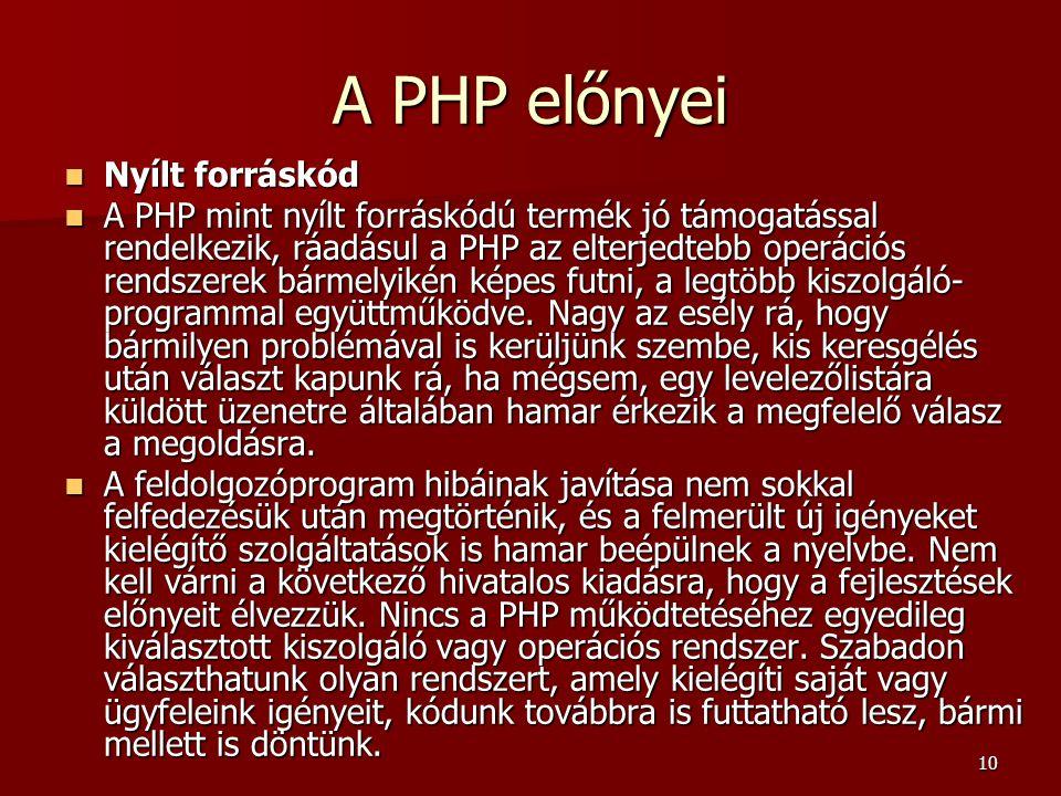 A PHP előnyei Nyílt forráskód