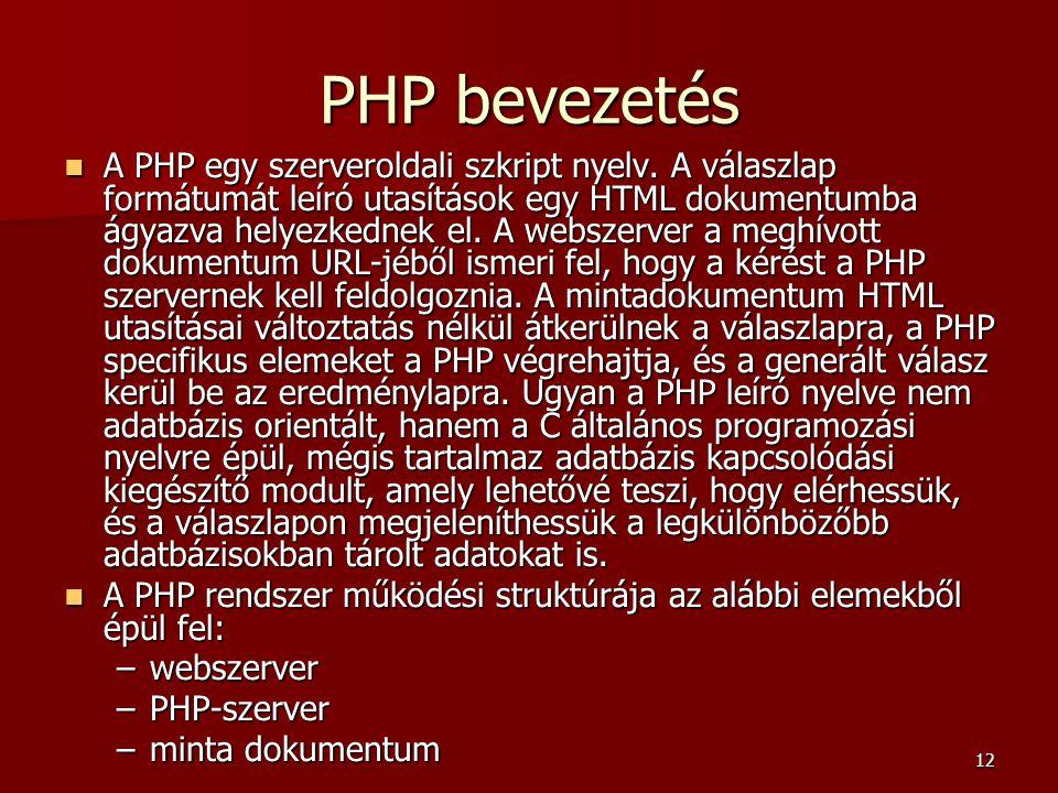 PHP bevezetés