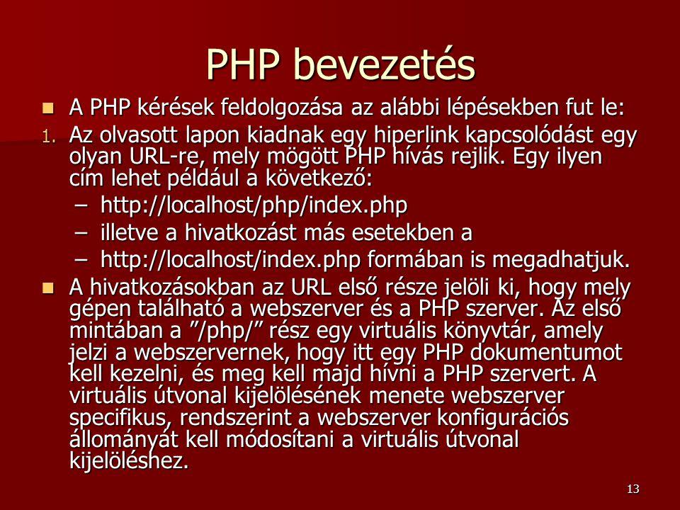 PHP bevezetés A PHP kérések feldolgozása az alábbi lépésekben fut le: