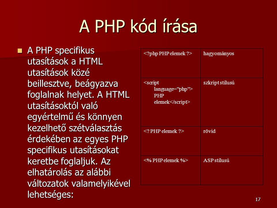 A PHP kód írása