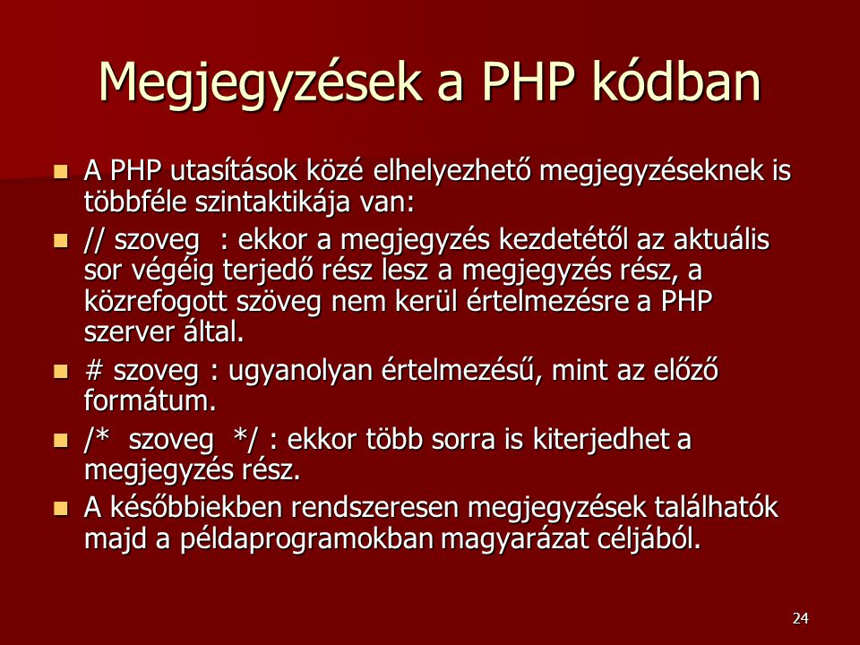 Megjegyzések a PHP kódban