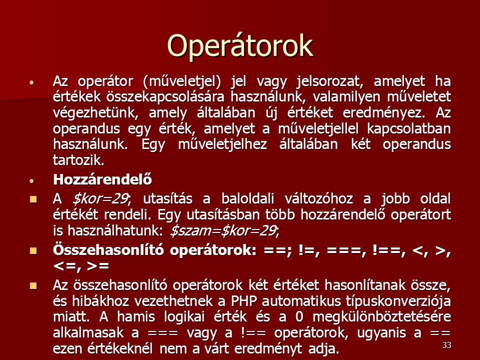 Operátorok