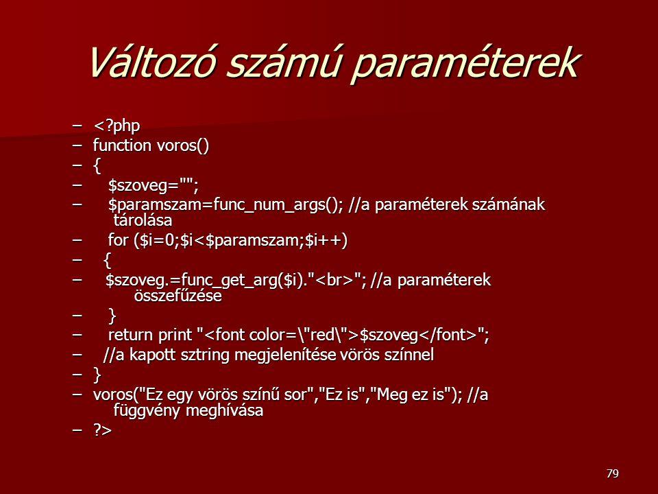 Változó számú paraméterek
