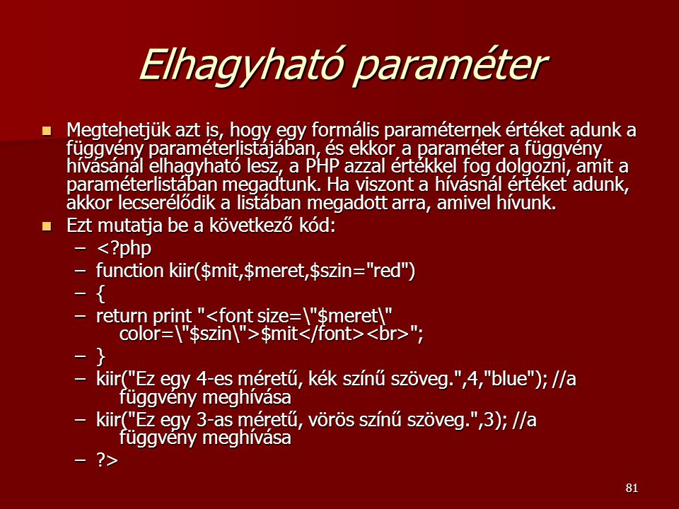 Elhagyható paraméter