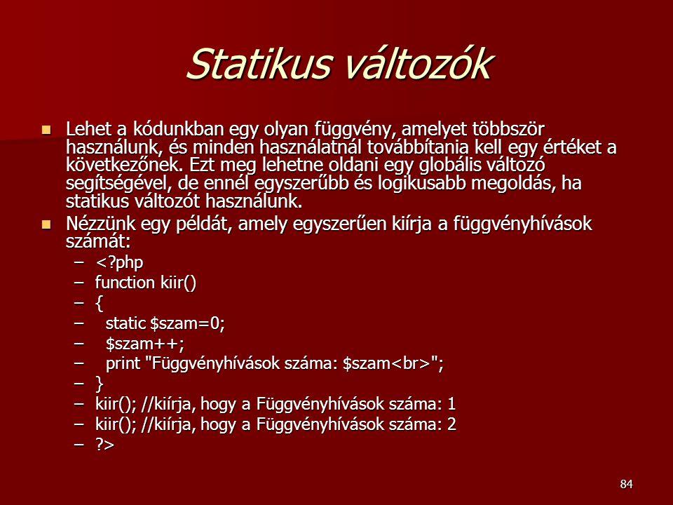 Statikus változók