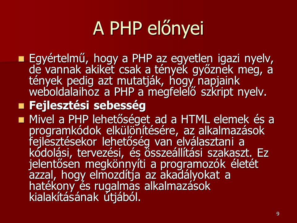 A PHP előnyei