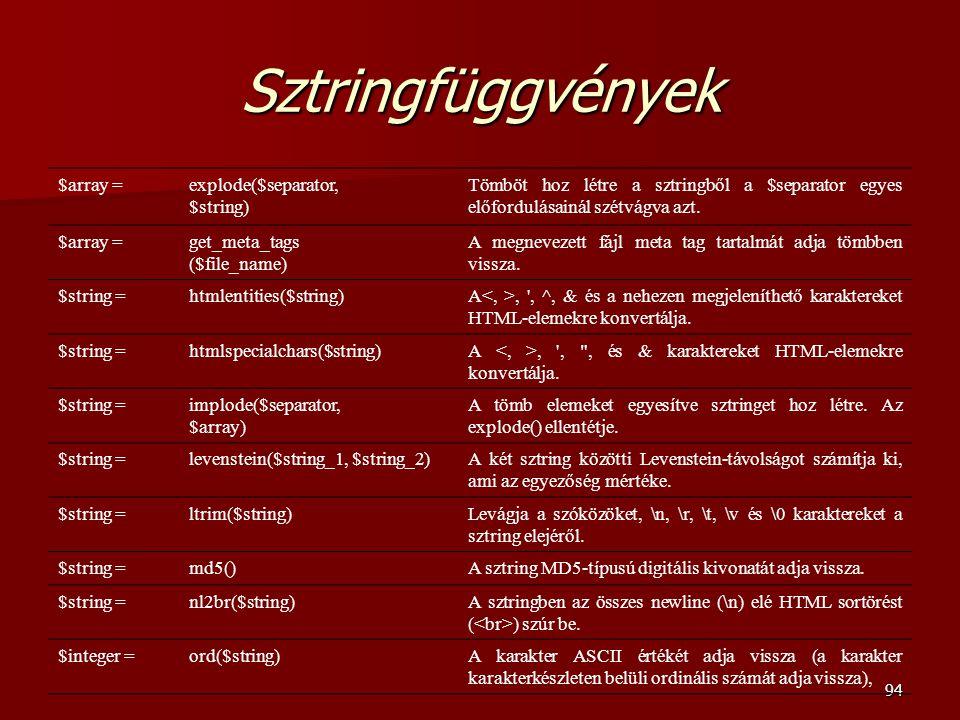 Sztringfüggvények $array = explode($separator, $string)