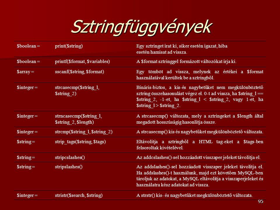 Sztringfüggvények $boolean = print($string)