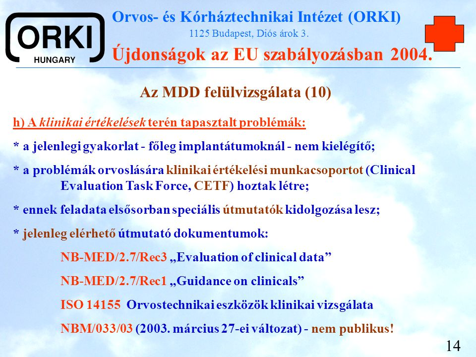 Az MDD felülvizsgálata (10)