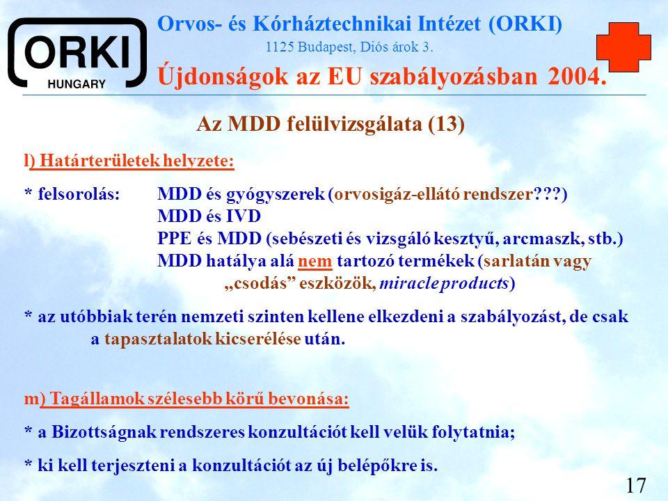 Az MDD felülvizsgálata (13)