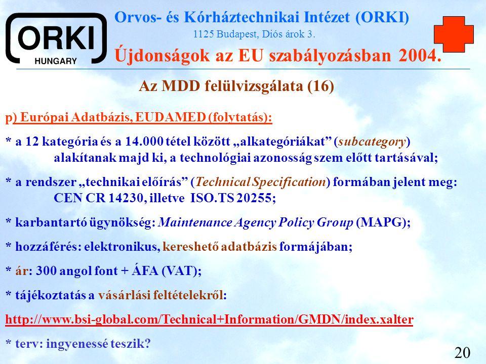 Az MDD felülvizsgálata (16)