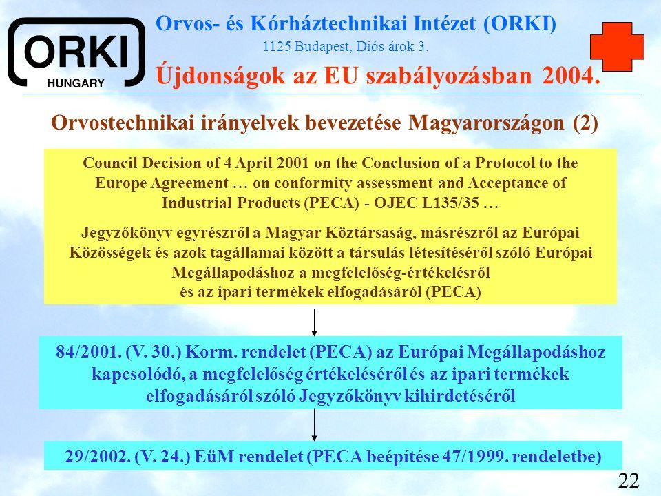 29/2002. (V. 24.) EüM rendelet (PECA beépítése 47/1999. rendeletbe)