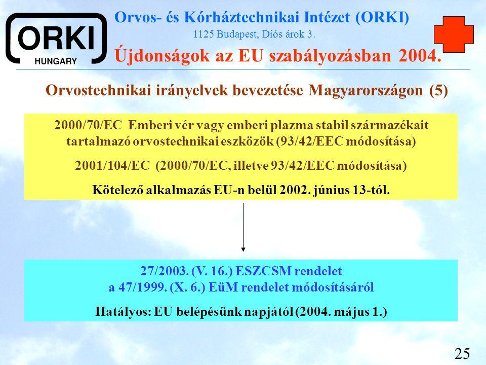 Orvostechnikai irányelvek bevezetése Magyarországon (5)
