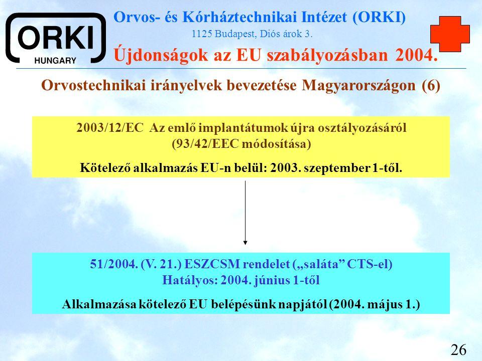 Orvostechnikai irányelvek bevezetése Magyarországon (6)