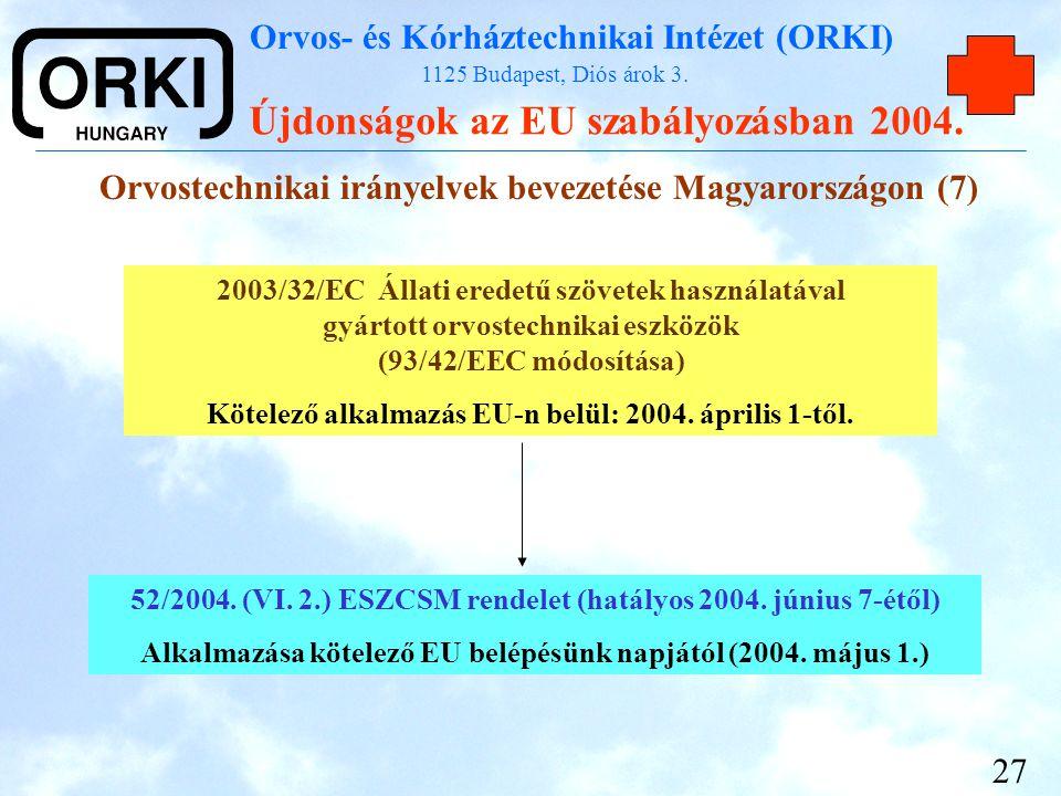 Orvostechnikai irányelvek bevezetése Magyarországon (7)