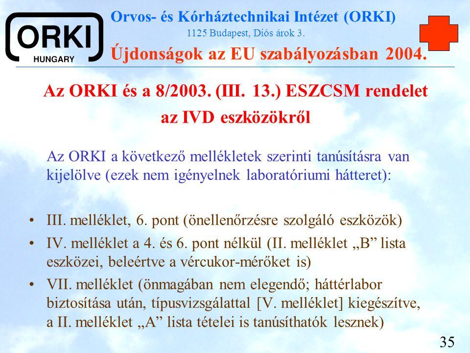 Az ORKI és a 8/2003. (III. 13.) ESZCSM rendelet