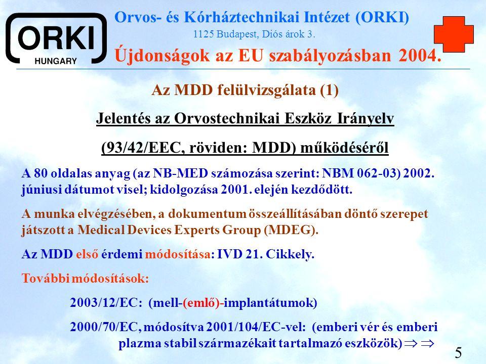 Az MDD felülvizsgálata (1)