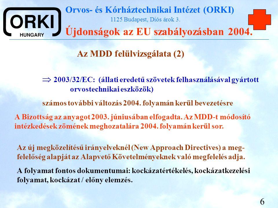 Az MDD felülvizsgálata (2)