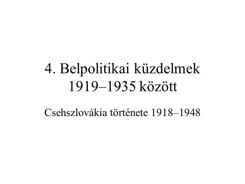 4. Belpolitikai küzdelmek 1919–1935 között
