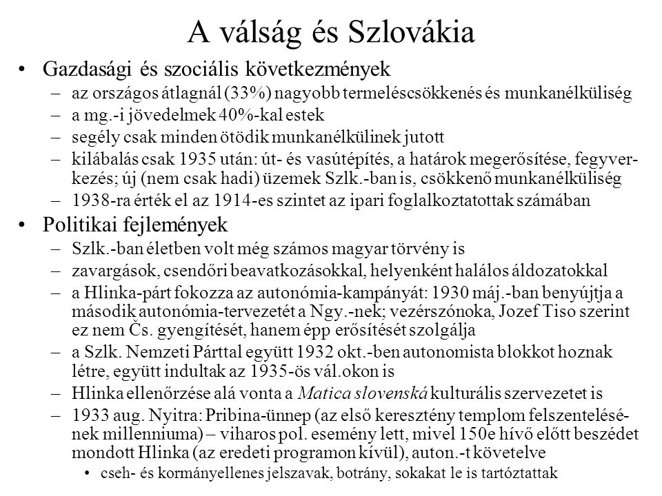 A válság és Szlovákia Gazdasági és szociális következmények