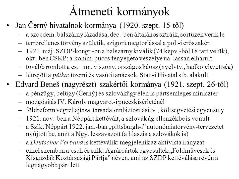 Átmeneti kormányok Jan Černý hivatalnok-kormánya (1920. szept. 15-től)
