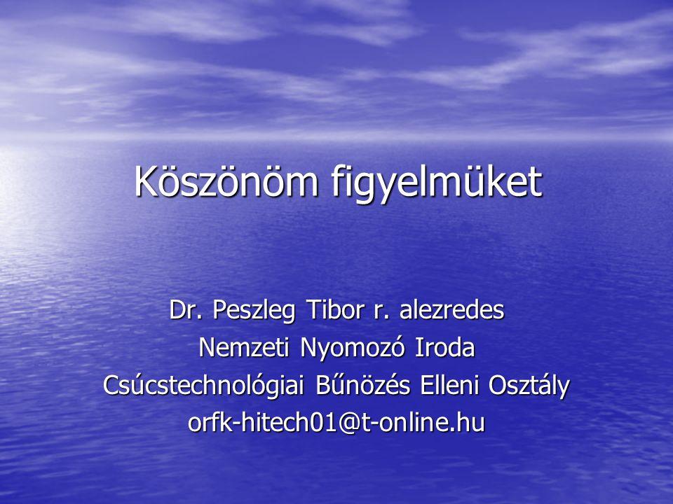 Köszönöm figyelmüket Dr. Peszleg Tibor r. alezredes