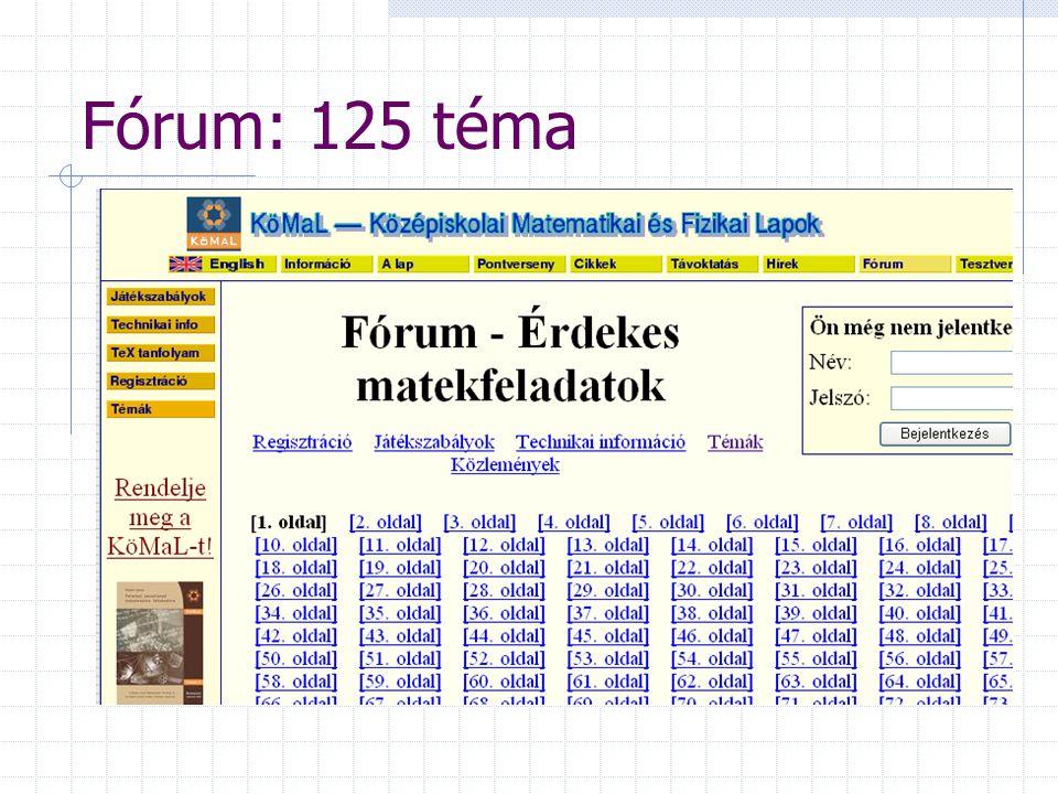Fórum: 125 téma A KöMaL és versenyvizsga.hu közös fóruma Témák: