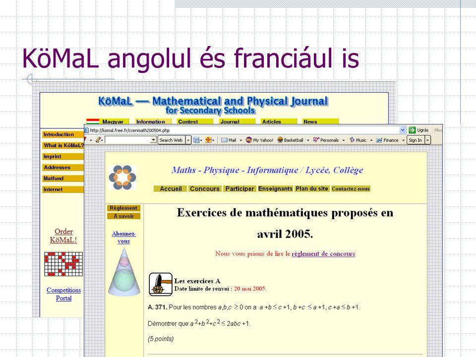 KöMaL angolul és franciául is
