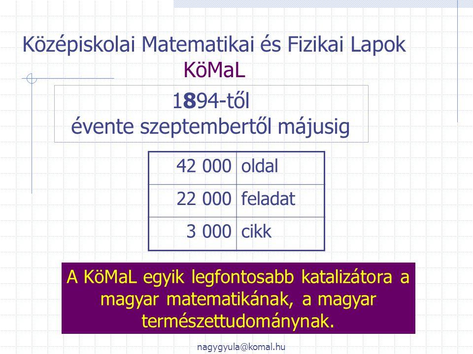 Középiskolai Matematikai és Fizikai Lapok KöMaL