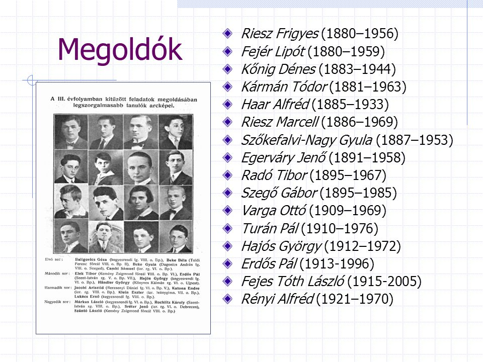 Megoldók Riesz Frigyes (1880–1956) Fejér Lipót (1880–1959)