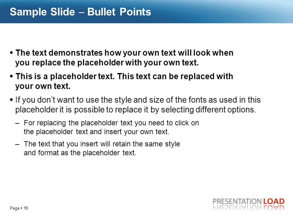 Sample Slide  Bullet Points