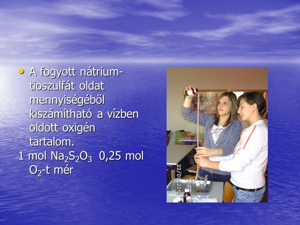 A fogyott nátrium-tioszulfát oldat mennyiségéből kiszámítható a vízben oldott oxigén tartalom.