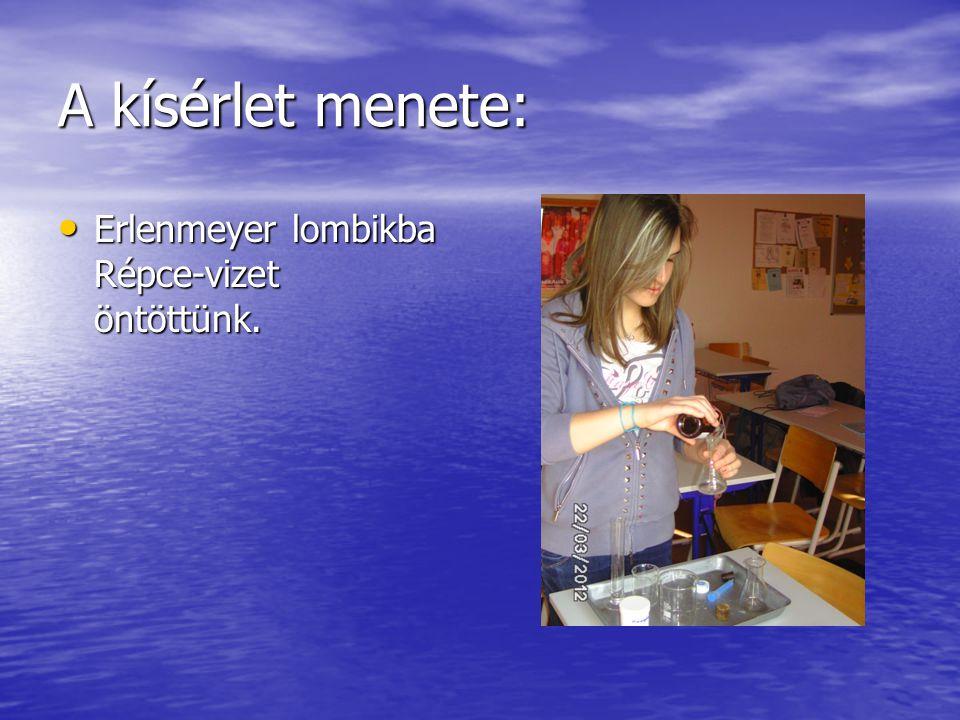A kísérlet menete: Erlenmeyer lombikba Répce-vizet öntöttünk.
