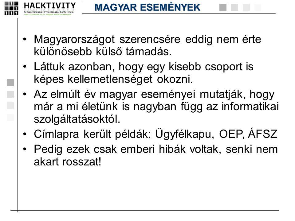 Magyarországot szerencsére eddig nem érte különösebb külső támadás.