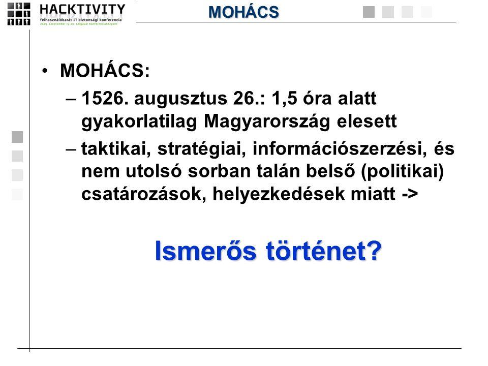Ismerős történet MOHÁCS: