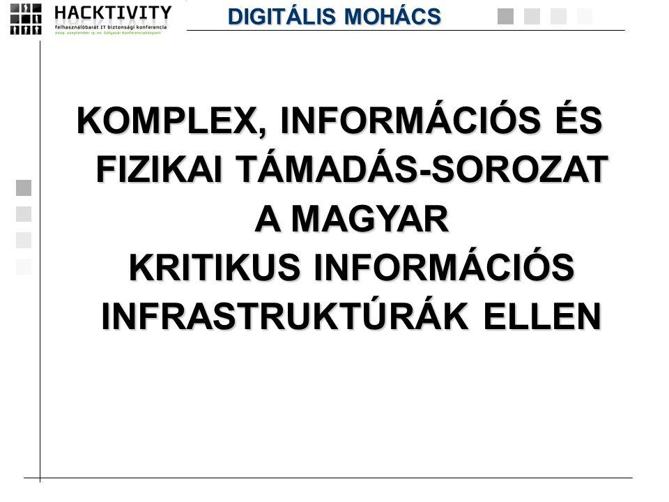DIGITÁLIS MOHÁCS KOMPLEX, INFORMÁCIÓS ÉS FIZIKAI TÁMADÁS-SOROZAT A MAGYAR KRITIKUS INFORMÁCIÓS INFRASTRUKTÚRÁK ELLEN.
