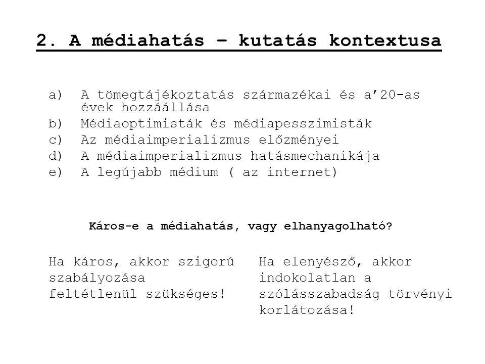 2. A médiahatás – kutatás kontextusa