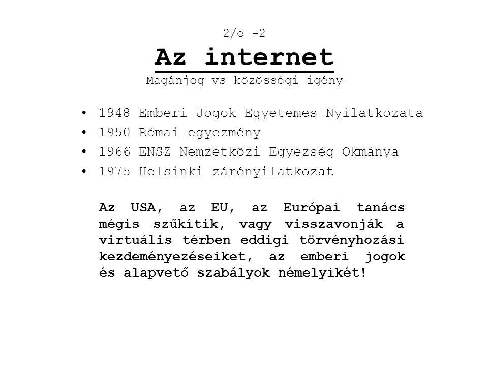 2/e -2 Az internet Magánjog vs közösségi igény