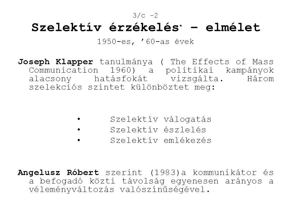 3/c -2 Szelektív érzékelés* – elmélet 1950-es, '60-as évek