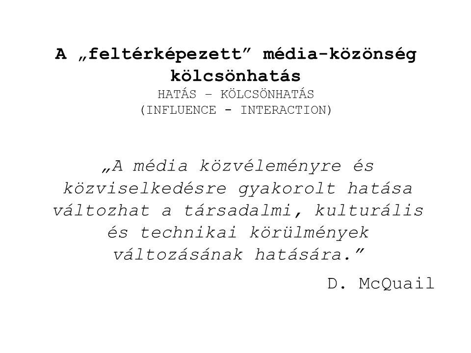 """A """"feltérképezett média-közönség kölcsönhatás HATÁS – KÖLCSÖNHATÁS (INFLUENCE - INTERACTION)"""