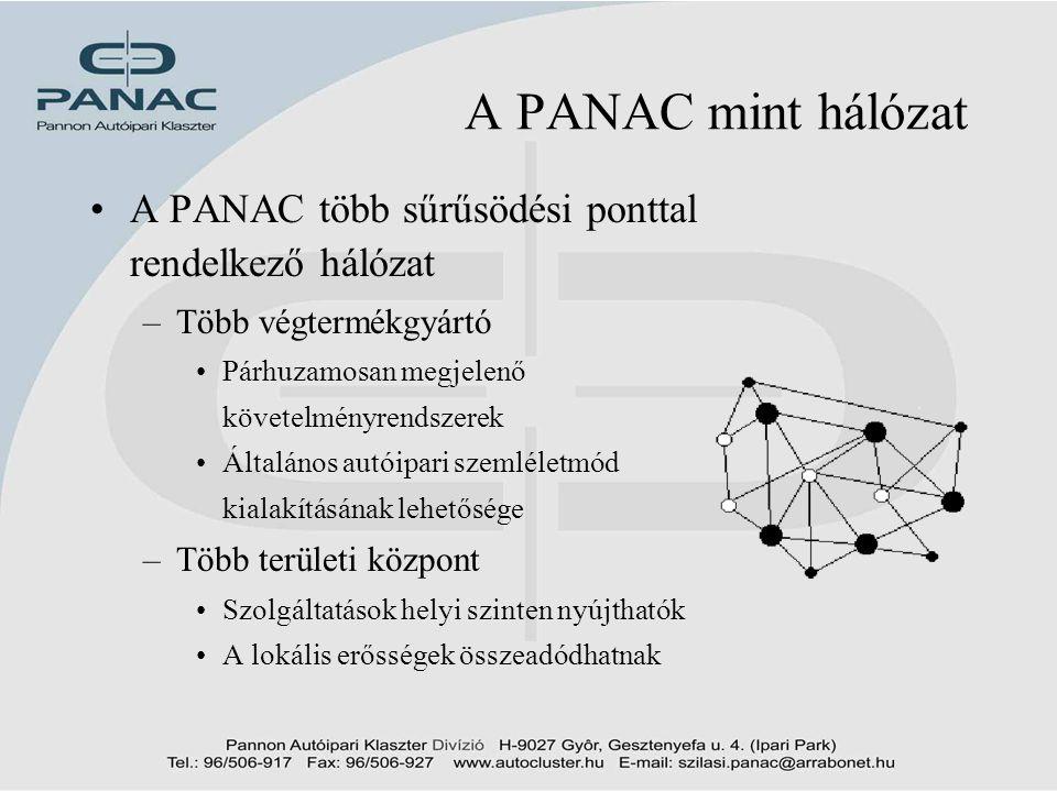 2002. 09. 12 A PANAC mint hálózat. A PANAC több sűrűsödési ponttal rendelkező hálózat. Több végtermékgyártó.