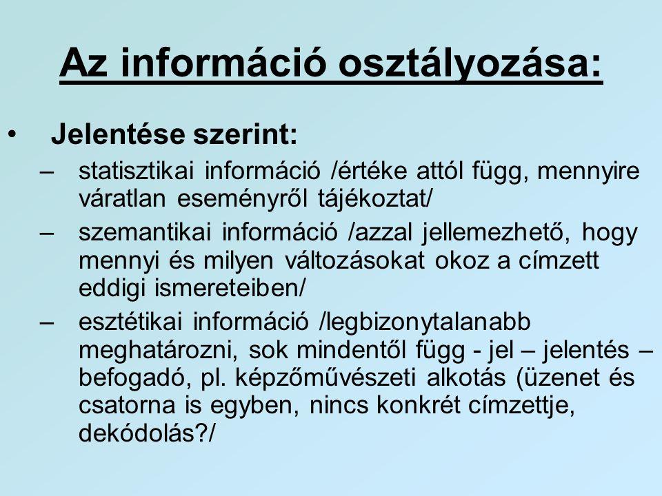 Az információ osztályozása: