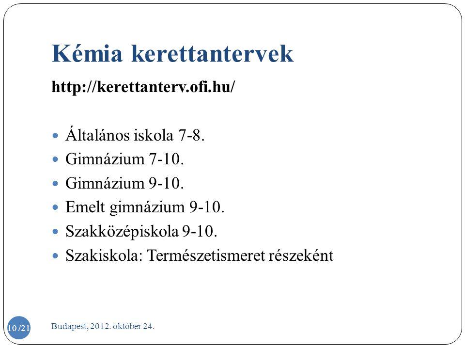 Kémia kerettantervek http://kerettanterv.ofi.hu/ Általános iskola 7-8.