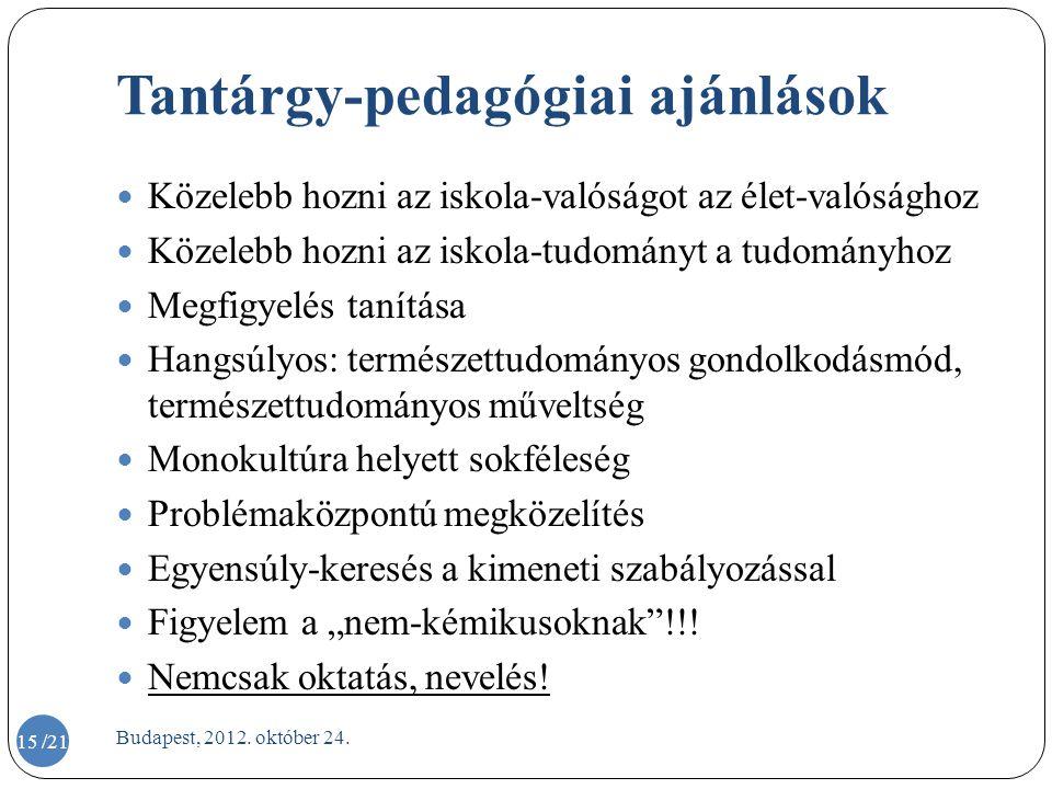 Tantárgy-pedagógiai ajánlások